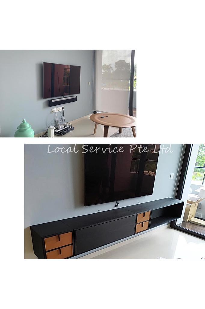 Mount TV Shelf In Prince Charles Crescent